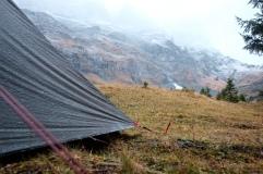 Tent in de regen